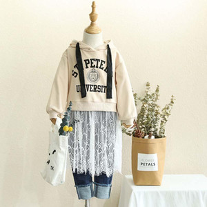 Wholesale Autumn Winter new Boutique Girl Clothes lace hooded Kids Sweatshirts Girls Hoodie Children Hoody Sweatshirt Pullover kids clothing A1897