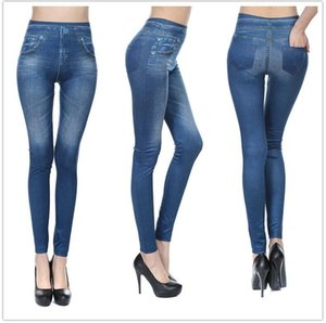 Wholesale Europe and the United States explosion models seamless high elastic imitation denim print leggings women wearing fleece pockets nine pants