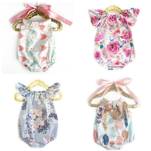 Baby Girls Rompers Backless Cake Bandage Bow Elastic Mermaid Arrow Tent Cactus Printed Jumpsuit Infant Toddler Clothing Summer Beach Outfits