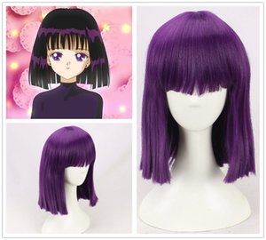 Wholesale sailor saturn resale online - Sailor Moon Saturn Hotaru Tomoe short Purple Hair Cosplay Costume Wig a wig cap