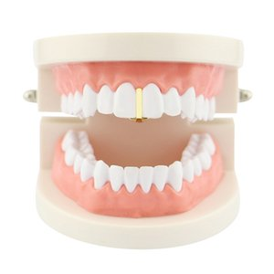 Wholesale Men and women fashion new hip hop Dental Grills jewelry vertical strip shape gold braces single tooth Halloween jewelry gift for rap rapper