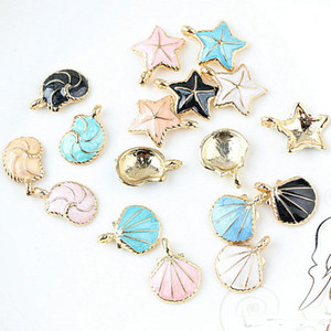 Wholesale diy jewelry for sale - Group buy 100pcs DIY jewelry bead K gold enamel alloy pendant small fresh starfish conch charms