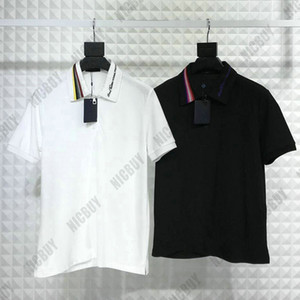 Wholesale high quaity Designer brand Men Tshirt Luxury Turn down Collar embroidery striped letter neck zipper polo T Shirt Casual cotton T shirt tee