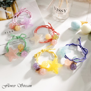 Wholesale Jelly Color Five pointed Star Hair Rope Knot Rope Color Ball Japanese Summer Tie Hair Rope Rubber Band Headdress