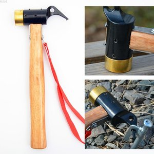 Wholesale Outdoor camping tent nail hammer brass hammer head nail extractor safety awning multi function Woodworking