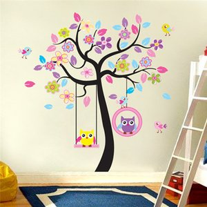 Wholesale Owls playing on trees wall stickers home decoration for kids rooms removable wall decals DIY mural arts flowers cm