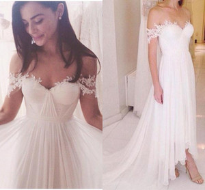 Modern Bohemian Chiffon Wedding Dresses Bridal Gowns Off the shoulder Cap Sleeves Applique Pleated Wedding Bridal Gowns Cheap vestidos De on Sale