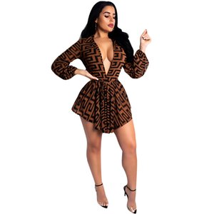 Wholesale Women Clothes Designer F Dresses Sexy Club Deep V Mini Dress Spring Long Sleeved Sashes Design