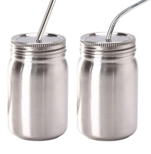 Wholesale oz containers resale online - 14 oz Mason jar Stainless Steel Widemouth Mason Jars With straw Stainless Steel Lid Food Containers For Drinking And Storage LJJK2207
