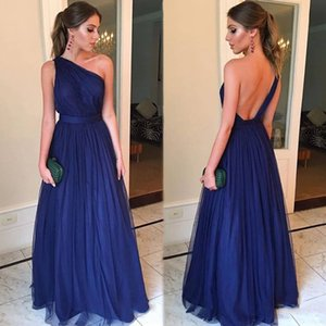 Wholesale 2019 New Arrival Sexy One Shoulder Backless Tulle Prom Dresses Long Simple Navy Blue A Line Prom Gowns with Belt Vestidos De Festa