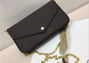 Top sell material New Genuine Leather Fashion Chain Shoulder Bags Handbag Presbyopic Mini Wallets Mobile Card Holder Purse M61276