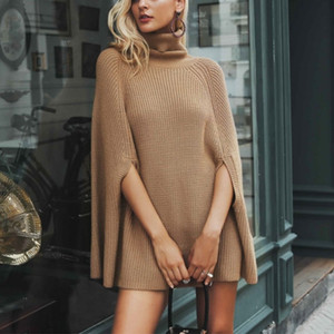 Wholesale Turtleneck Knitted Sweaters Pullover Bat Sleeve Loose Autumn Sweaters Women Black Khaki Winter Jumper Female Poncho S Xl