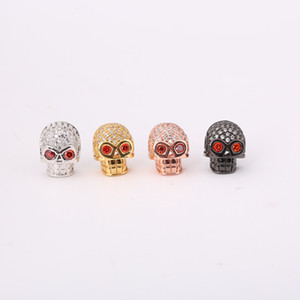 Wholesale Red Eye Skull Copper Micro inlaid White Zircon Bead Jewelry Accessoriy Pendant For Handmade Making Bracelet Punk Charm Connector