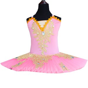 Wholesale Pinky Ballet Dress Tutu Dress For Girls White Swan Lake Ballet Crystal Embroidery Lace Costume Ballerina Kids Dancewear