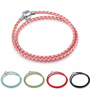 Wholesale Mixed colors MM Genuine Leather Long Braided Rope Bangle Fit Big Hole European beads Charm bracelets For women men Fashion DIY Jewelry