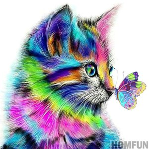 "Full Round Drill 5D DIY Diamond Painting ""Cat Butterfly"" 3D Embroidery Cross Stitch 5D Home Decor Gift Free Shipping on Sale"