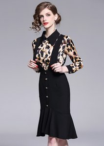 Wholesale High end fashion brand women s dress designer of European and American Lapel Leopard Print Long Sleeve slim fish tail dress new239