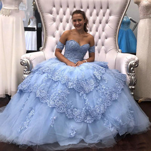 Wholesale 2020 Light Sky Blue Modest Lace Ball Gown Quinceanera Prom Dresses Sequins Beaded Applique Tulle Formal Party Sweet Wear