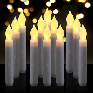 Wholesale 6 quot LED Battery Taper Candles Flickering Flameless Tapered Candles Warm White LED Lights Dripless With Remote Control Set of