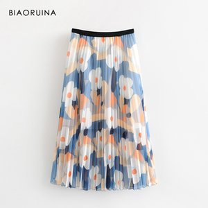 Wholesale BIAORUINA Women Casual Floral Printed Pleated Women s Elastic High Waist Fashion Lined Skirt Girls Korean Style Sweet Skirts