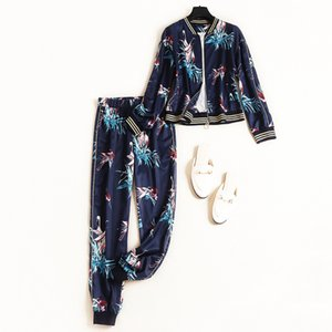 Wholesale New 2019 Autumn Fashion Women Baseball Jacket Print + Pants Suit Casual Two Piece Outfits