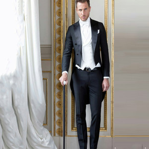 Wholesale Black Tailcoat Men Suits Groom Wedding Tuxedos Wear Formal Morning Party Long Jacket Piece Vintage Costume Homme Italian Terno Masculino