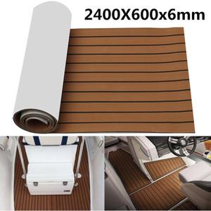 Self Adhesive 2400x600x6mm EVA Foam Marine Boat Yacht Flooring Faux Imitation Teak Sheet Pad Boat Decking Decor Mat Brown Black