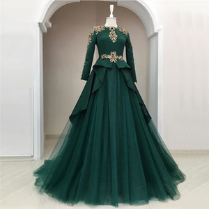 Wholesale 2019 Elegant Green Tulle A Line Evening Dresses Long Sleeves Gold Appliques Prom Dresses Custom Simple Ruffles Women Formal Gowns