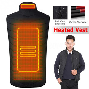 Wholesale 2019 Upgraded Men Outdoor USB Infrared Heating Vest Jacket Winter Carbon Fiber Electric Thermal Clothing Waistcoat