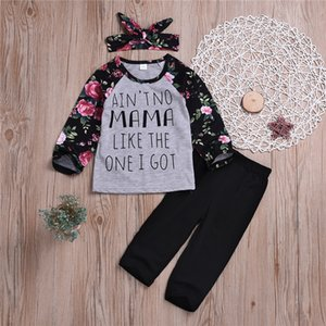 Wholesale Girl kids clothes Set long sleeved flower lettered Top Black trousers bow Headband pieces sets kids designer clothes girls TJY604