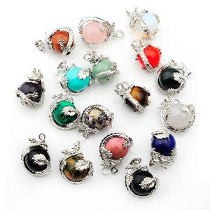 Wholesale Chinese Dragon Wrapped Natural Stone Pendant Necklace Handmade Round Ball Shape Rose Quartz White Crystal Bead Necklaces Women Men