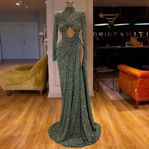 2020 Glitter Mermaid Evening Dresses Sequins Long Sleeves High Neck Side Split Lace Formal Party Gowns Custom Made Special Occasion Dresses on Sale