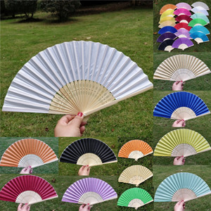 Wholesale Wedding Fan New Elegant Ivory White Wedding Party Sweet Llight Yellow Silk Hand Fan Hot Candy Color Fashion Mesh Party Bamboo Hand Fans