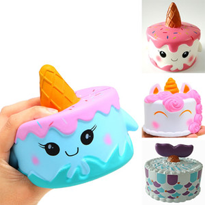 Wholesale Squishy Unicorn Cake Kawaii Fish Tail Cream Bread Slow Rising Super Soft Squeeze Stress Reliever Toys For Kids Home Decorative XD20041