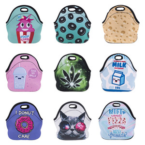Wholesale Thicken Printed Lunch Bag Colors Diving Material Waterproof Cooler Thermal Insulated Bag Cartoon Expression Cat Biscuits Printed Handbags