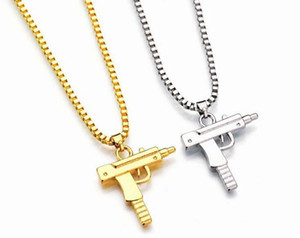Wholesale Hot Gold Chain Hip Hop Long Pendant Necklace Men Women Fashion Brand Gun Shape Pistol Pendant Maxi Necklace HIPHOP Jewelry