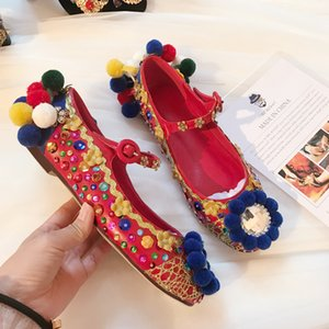 Wholesale Bohemia Style Flat Dress Shoes Handmade Sequined Women Red Lower Heel Shoes Spring Ball Crystal Canvas Ballet Flats