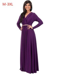 Wholesale Party Dresses Sexy V Collar Ruched Full Sleeve Big Size For Fat Women M L XL XL XL Maxi Long Evening Dress