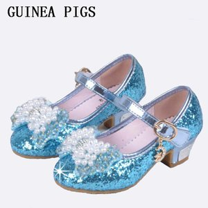 Wholesale Children Princess Sandals Kids Girls Wedding Shoes High Heels Dress Shoes Bowtie Gold Shoes For Girls White Pink Guinea Pigs Y19051303