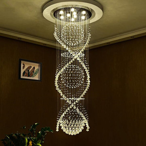 Wholesale Sphere and Spiral Rain Drop Clear LED K9 Modern Crystal Chandelier Light Lighting Fixture for Staircase Living Room Foyer Hallway Stair