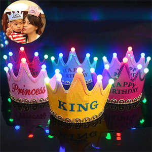 Wholesale Baby Adult Crown Light Up LED Blinking Flashing Headbands Party Favors Birthday Princess King Hair Accessories