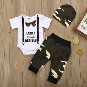 Wholesale boys shorts sets hats resale online - 3pcs Summer Baby Boy Clothes Short Sleeve Letters Printed Top Romper Camouflage Pants Camouflage Hat PC Baby Clothes Sets F