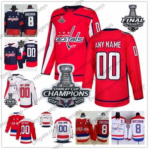 ingrosso nome dei tappi-Custom Washington Capitals Red Third Jersey Qualsiasi numero Nome uomini donne giovani bambini Bianco Navy Stanley Cup Champions Caps Connor McMichael