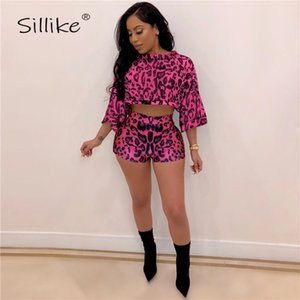 Wholesale SILLIKE Piece Set Leopard Print Jumpsuit Women Rompers Batwing Sleeve Tops High Waist Shorts Fashion Casual Tracksuit Outfits