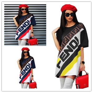 0d0ee6068f12 Women Long T-Shirt Dress Sports Skirt F Letter Printed Short Sleeve T shirts  Tee