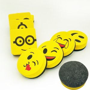 Wholesale 2pcs Yellow Smile Face Whiteboard Eraser Magnetic Board Erasers Wipe Dry School Blackboard Marker Cleaner Styles Randomly Sent