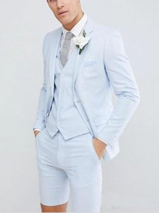 Wholesale Handsome Young Mens Wedding Tuxedos for Summer Suits Piece Fashion Blazer Suits For Prom Evening Party Wear Blazer Short Pants Vest