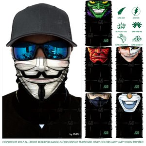 Wholesale 3D Seamless Bandana V vendetta Magic Scarf Neck Gaiter Skull Death Hulk Motorcycle Hiking Fishing Face Mask Outdoors Headband