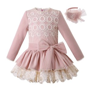 Wholesale Pettigirl Autumn Kids Luxury Designer Clothes Girls Pink Girl Lace Dress Headwear Wedding and Party Kid Costumes With Bows Children Clothing