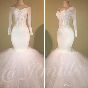 Wholesale White Long Sleeves Off Shoulder Prom Dresses Mermaid For Black Girls Tulle Beaded Appliques Evening Gowns